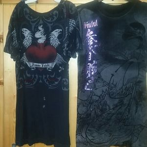 Sinful t shirts, lot 2, size large, black